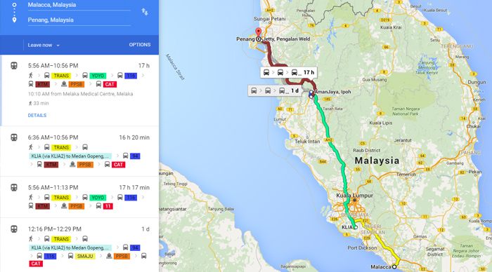 Travel by bus to Melaka